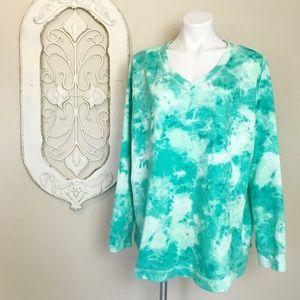 Evri   Teal White Tie Dye Cozy Long Sleeve Top 2X